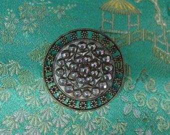 "Pretty Antique Cut Steel Button with Pierced Rim, 1 3/8"""