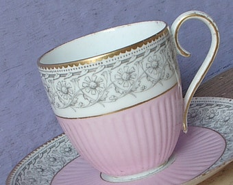 Antique 1880's Demitasse Teacup and Saucer, Pink tea cup, Antique teacup, Victorian tea cup, Pink and gold china teacup, English tea cup