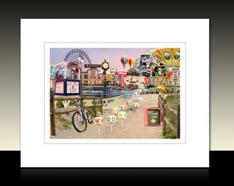 Ocean City New Jersey Photography Collage Matted Print,  Amusement Rides, Boardwalk, Historic OCNJ, Ready for framing or framed