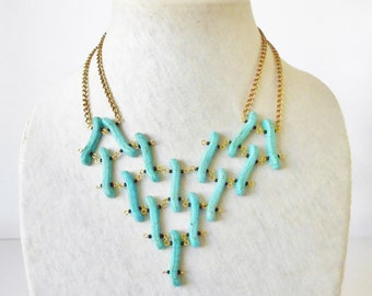 Turquoise Magnesite Bib Necklace, Beaded netting, Blue Gold & black, Statement necklace, Bohemian, Hippie chic, BoHo style, Blue necklace
