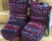 Lumberjack - Hand Spun/Hand Dyed/Knit Sheepskin Soled Booties 6-12 Months