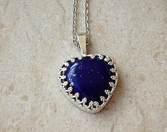 Lapis Lazuli Necklace, Sterling Silver Heart Shaped Lapis, September Birthstone Necklace, Blue Semi Precious Gemstone, Jewelry Birthstone