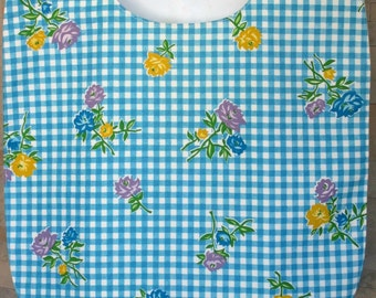 Adult Woman Garment Clothing Protector Cover Up Bib = Blue & White Check, Yellow Lavender Blue Floral