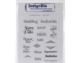 "Wedding Words Cling Stamp Set - 15 Wedding Text Stamps plus Scrolls - 7""X5"" Sheet by IndigoBlu (413701)"
