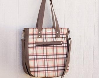 Waterproof Plaid 3-in-1 Convertible Backpack Diaper Bag