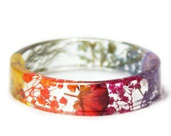 Rainbow Jewelry- Jewelry with Real Flowers- pink jewelry- colorful bracelet- Dried Flowers- Rainbow Flower Bracelet -Flower Resin Jewelry