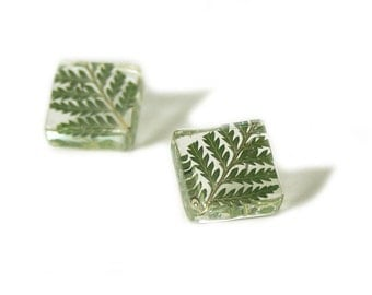 Fern Earrings - Forest Jewelry - Jewelry made with Real Flowers - Green Flower Jewelry - Wedding Jewelry - Bridesmaid Gift