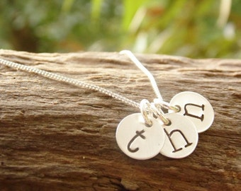 Initial Necklace Hand Stamped Mom Neckace Sterling Silver Three Tiny Discs Monogram Necklace
