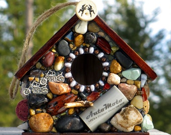 Outdoor Stone Bird House with motocycles, Wine Corks and river rocks for wrens sparrows rustic birdhouse for him