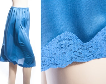70's Vintage Half Slip - silky soft sheer french navy nylon and delicate sexy matching lace detail cling resist waist slip petticoat - 3541