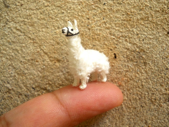 Mini White Llama Micro Amigurumi Crochet Stuffed Animals