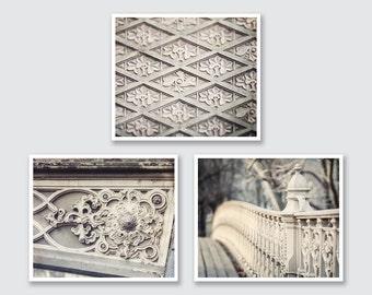 New York City Print or Canvas Art Set, Gray Decor, Gray Wall Art, Central Park Photography, New York City Print Set, NYC Wall Gallery, Gray.