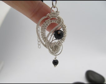 Pendant sterling silver and black onyx wire wrapped necklace OOAK