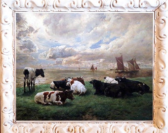 Fab Seascape with Cows Art Print, Framed in Shabby White Frame, Print on Canvas