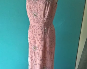 Original vintage 1960s soft pink wiggle dress with corded embroidery