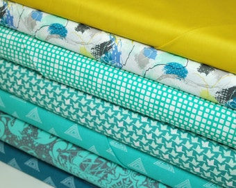 Half Yard Each, Atlantic Quilt Bundle, Art Gallery and Tula Pink Fabrics, Quilting Cotton, Stash Builder