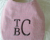 Classic seersucker Bib, FREE MONOGRAM, FREE Shipping available, preppy, lined, monogram, easy closure, matching bubble available