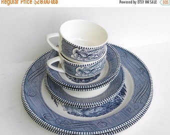 ON SALE Currier and Ives China - Currier and Ives Grist Mill - Blue and White China - Service for Two