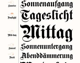 Blackletter Typography Black White / 14 x11 print