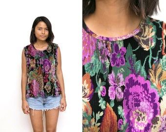 Floral Shirt / Floral Tank Top / Ribbed Floral Tank Top / Floral Blouse 90s Vintage Womens Slouchy XL Extra Large Stretch Bright Purple