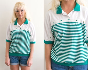 80s Striped Polo / Green Striped Polo / Unisex Collared Blouse / Color block Blouse / Turquoise Pullover / Striped Shirt / 80s Retro Top
