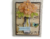 Milk Bottle Flower Bouquet Card Thinking of you cards