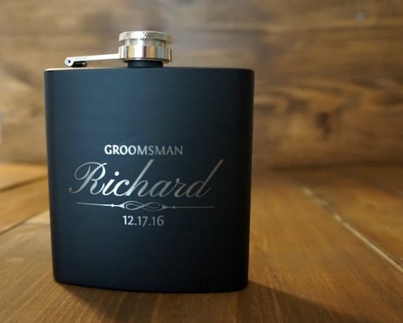 Eight Personalized Flasks for Groomsmen, Groomsman Gift, Wedding Favor, Custom Engraved Flask, Personalized Flask