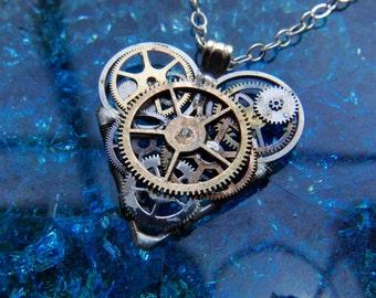 """Clockwork Heart Necklace """"Shelley"""" Steampunk Watch Gear Industrial Heart Pendant Sculpture Gershenson-Gates Mechanical Mind Gift Idea"""