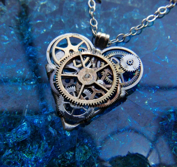 "Clockwork Heart Necklace ""Shelley"" Steampunk Watch Gear Industrial Heart Pendant Sculpture Gershenson-Gates Mechanical Mind Gift Idea"