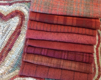 Primitive Reds Bundle, 8) Fat sixteenths, Wool Textures for Rug Hooking and Applique, W172