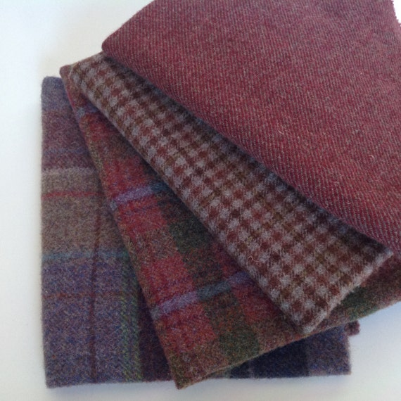 Plum Purple Textures, Wool for Rug Hooking and Applique,  4 pieces, Select-a-Size, W176,  Grape, raspberry, purple, deep rose