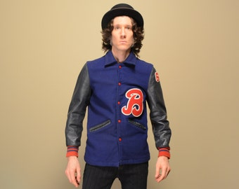 vintage 60s varsity jacket B letterman jacket 1964 64 red white blue gray leather DeLong 1960 varsity jacket small medium S M
