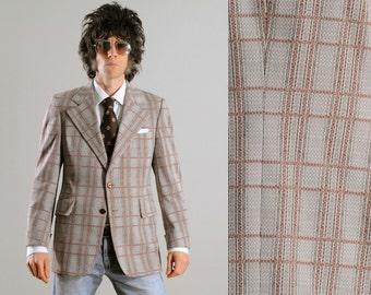 mens vintage sport coat 70s plaid sport jacket 1970 tan orange brown Petrocelli wide lapel turned cuff funky jacket 38 38R Lucky 7