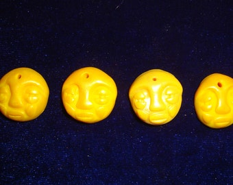Lot of 4 Pearly Yellow Polymer Clay Face Beads