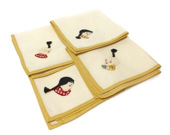 4 pc Set Vintage 1950s Cloth Tea Towel Napkins, 4 asian children boy girl pigtail hand embroidered