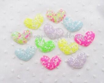 6pcs - Pastel Puffy Confetti Hearts Mix Flatback Decoden Cabochon (40x28mm) HRM10014