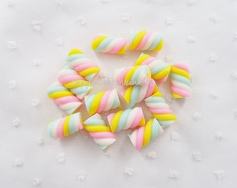 5pcs - Pastel Marshmallow Candy Twist Decoden Mix (20x10mm) CLY014