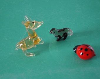 Hand Blown Art Glass Figurine Three Pack