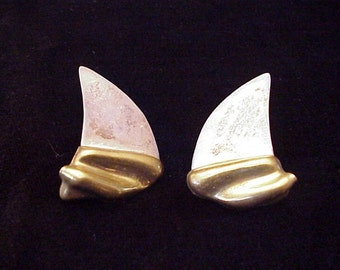 Vintage Mexican Modernist Sterling Silver and Brass  Shark Fin Earrings .925