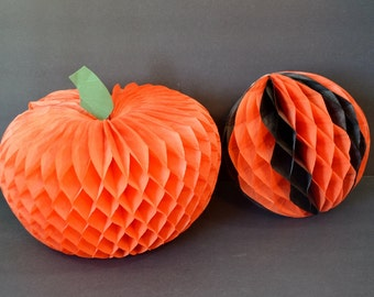 Vintage Honeycomb Tissue Pumpkin Ball Party Decorations Black Orange Halloween Fall Thanksgiving Table Hanging Decor