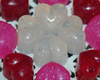 Sparkle Heart Soap ~ Mini Heart Soaps ~ Valentine's Soaps in Sparkle Pink, Red, and White ~ 12 Pretty Hand Soaps ~ Party Favor Heart Soaps