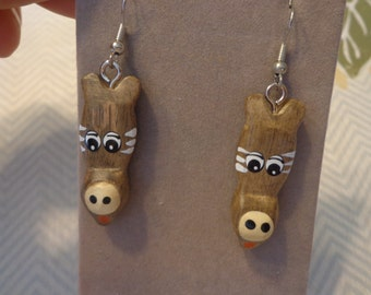 Wood Hand Painted Charm Earrings, Giraffe Face, on Silver Tone Pierced Wires
