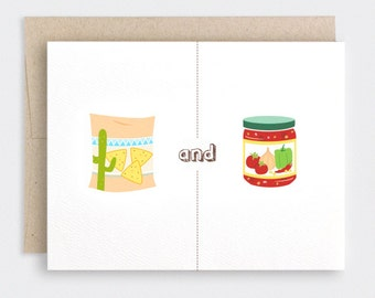 Valentine Card - Chips & Dip - Cute Love Card - Salsa Nachos - Foodie Anniversary Card Friendship Card - One Year, 1st Year Anniversary Card