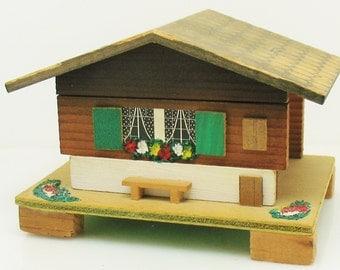 VTG German Bavarian Trinket Jewelry Music Box Wood Whimsical Decor Black Forest Cottage Folk Art Decoration Minature Chalet Curio
