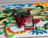 Wine theme Paper Quilling Wall Art with grapes landscape in 11x14 deep frame Reserved for Shiksha