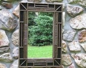 RESERVED FOR JEAN: Adirondack Twig Mirror in Black Crackle Finish