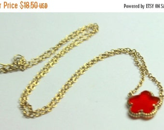 MOVING SALE Half Off Beautiful Vintage 925 Sterling Vermeil Gold Carnelian Flower Necklace
