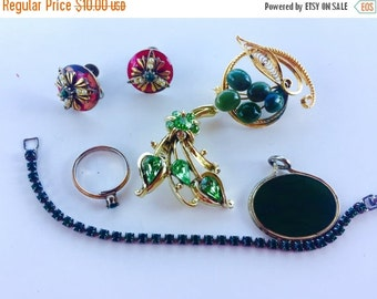 MOVING SALE Half Off Shades of  Green Destash Craft Lot of Colorful  Rhinestone Jewelry Parts and Pieces for Repurposing
