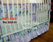 Lavender 3 Piece Baby Bedding. Teal and Lavender Crib Bedding. Tiered Crib Skirt, Stuffed Bumpers, Crib Blanket. Fast Shipping!