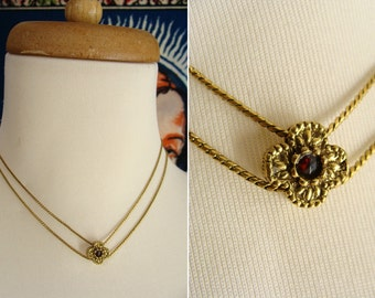 "Choker Necklace. Vintage Goldette 15"" Double Strand Choker Collar Necklace with Slide Flower and Garnet Stone"